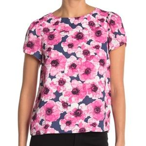 J. Crew Pink Floral Soft Shell Short Sleeve Top